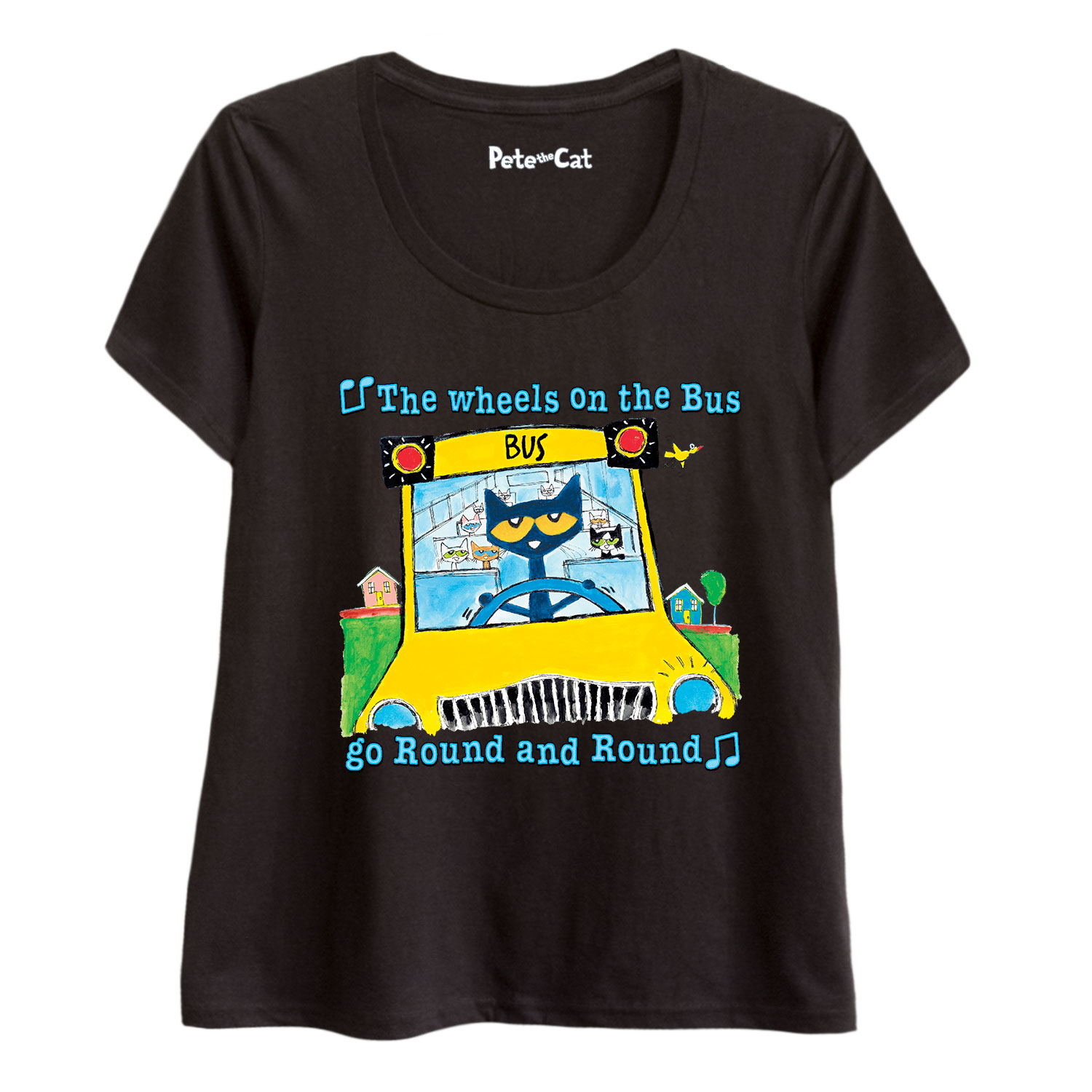 Pete The Cat Wheels On The Bus Multi - Adult Ladies Plus Size Scoop Neck Tee