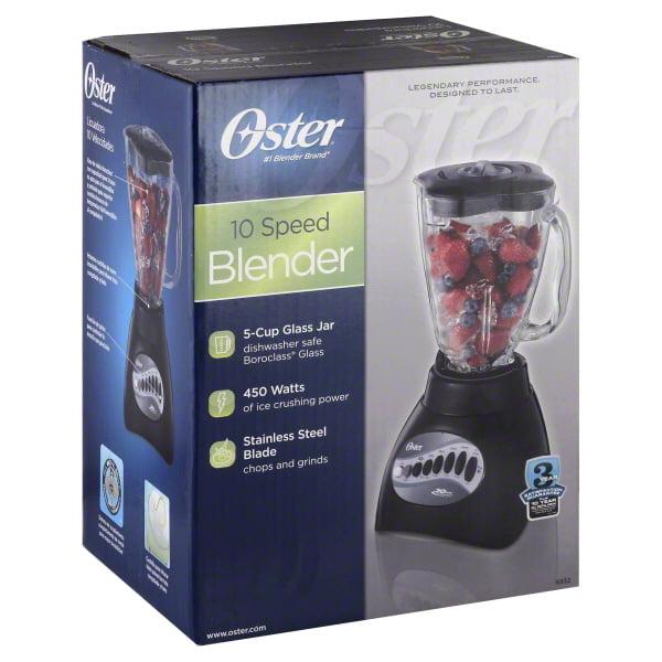 Oster Classic Series 10-Speed Blender Plus Food Chopper, Glass Jar, Black