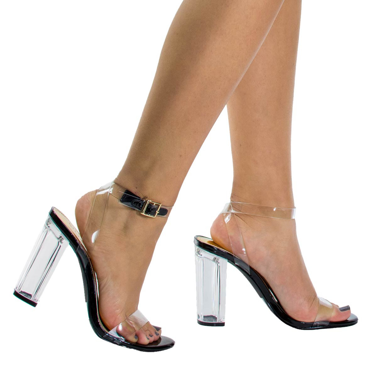 Fiesta1 by Liliana, Clear See Through Dress Sandal w Lucite Perspex Acrylic High Heel