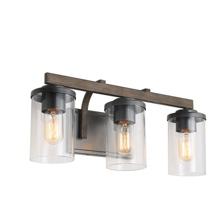 Double Bath Sconce (LNC 3-Light Rustic Bath Vanity Light Fixture Wall Sconces with Seeded Glass)