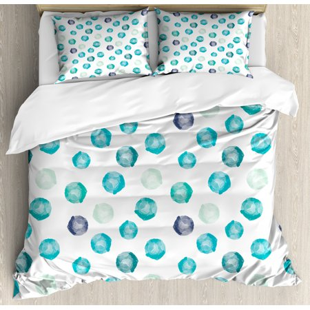 Aqua Queen Size Duvet Cover Set, Hand Painted Style Round Shapes Pattern in Different Pastel Colors Abstract Design, Decorative 3 Piece Bedding Set with 2 Pillow Shams, Multicolor, by Ambesonne Hand Painted Queen