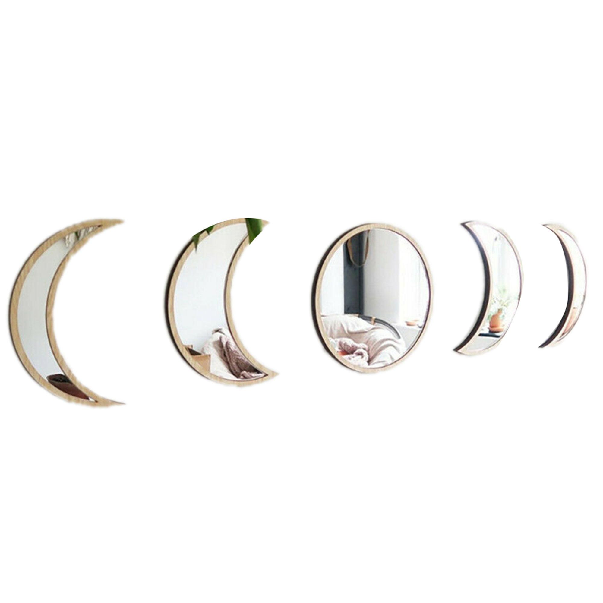 Sunisery Acrylic Decorative Mirrors Diy Wooden Moon Phase Mirror For Living Room Bedroom Decor Walmart Com Walmart Com