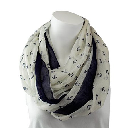8fc06e3280 Pop Fashion - Pop Fashion Womens Anchor Print Lightweight Infinity Scarf -  White and Navy - Walmart.com