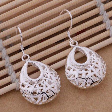 ON SALE - Droplet Sterling Silver Filigree Cage Earrings Silver](Pearl Earrings Droplets)