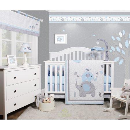Celestial Baby Bedding - OptimaBaby Blue Grey Elephant 6 Piece Baby Nursery Crib Bedding Set