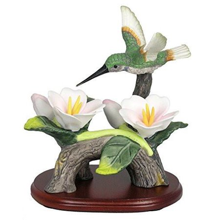 Hummingbird Figurine Porcelain with Pink Flowers on Wood Base 4.5 Inch (Sadek Bird Figurine)
