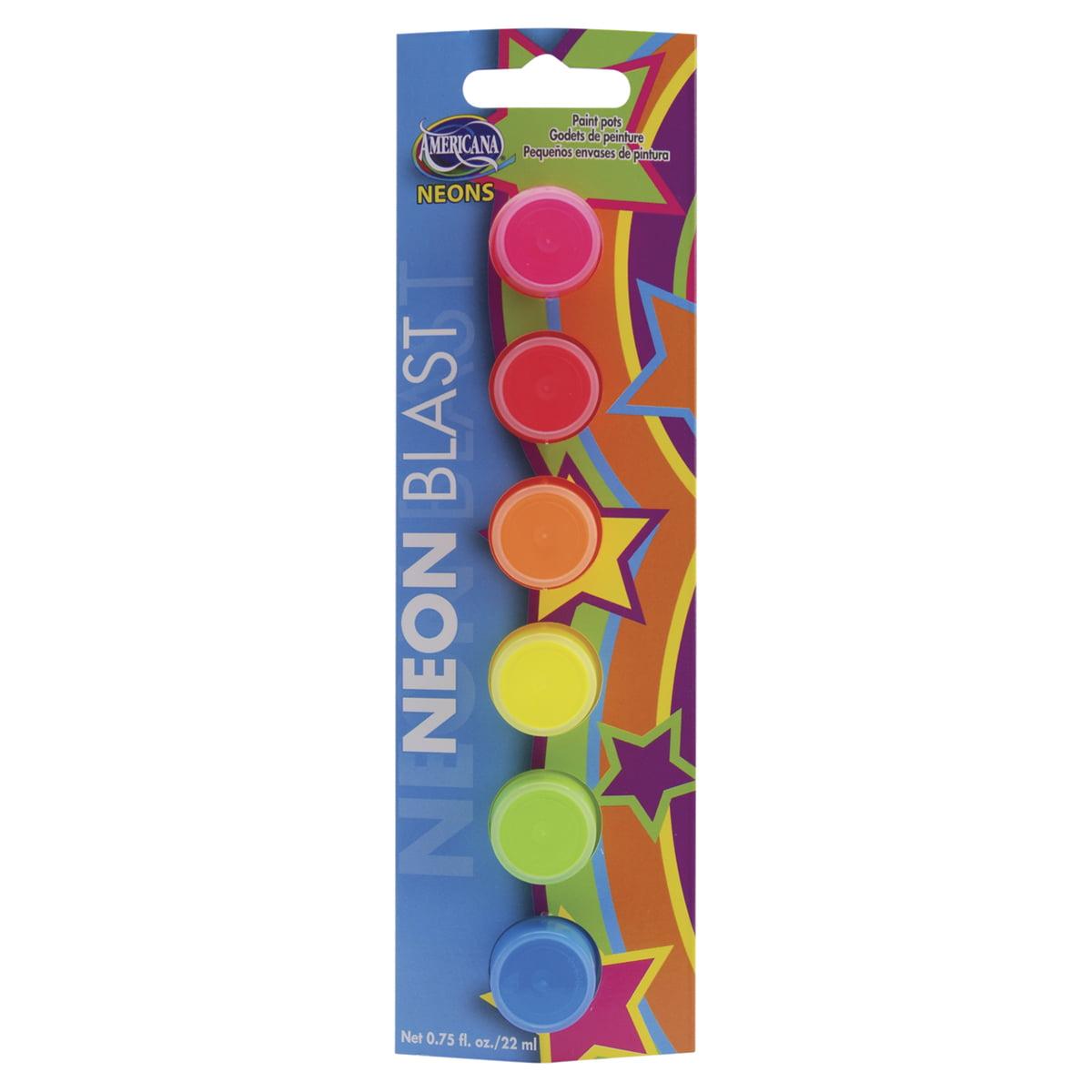 Americana Seasonal All-Purpose Acrylic Paint Pots 6/Pkg-Neon Blast