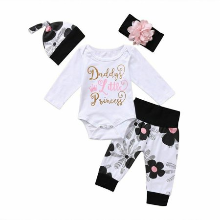 70s Outfits Women (One opening 4Pcs Newborn Kids Baby Girl Daddy Little Princess Romper + Floral Pants + Hat + Headband Outfit)