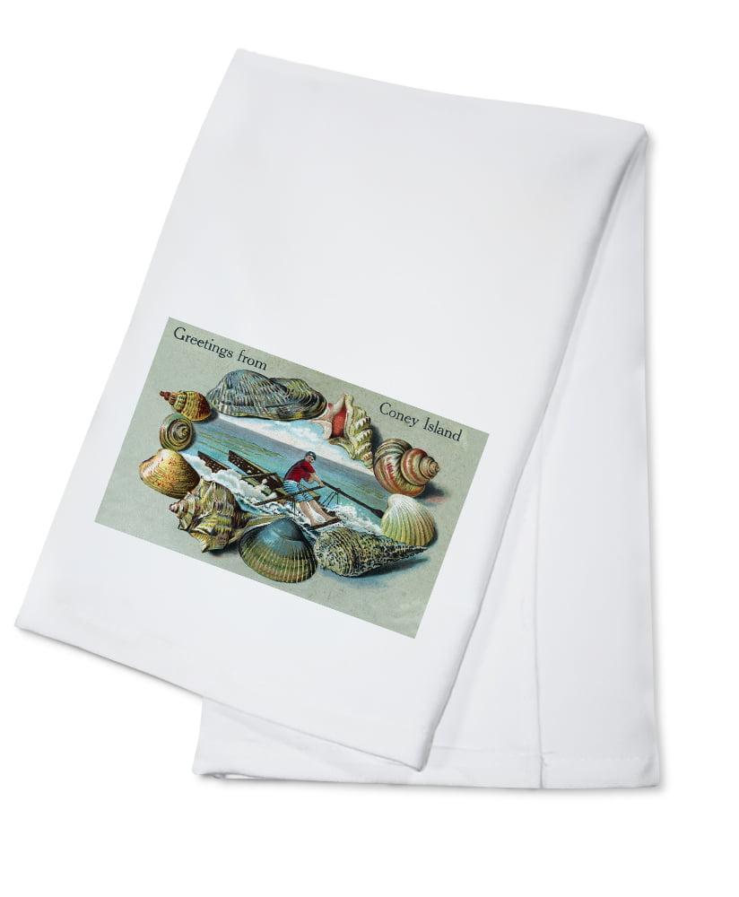 Coney Island, New York Nautical Scene, Greetings From (100% Cotton Kitchen Towel) by Lantern Press