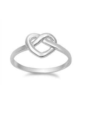 925 Sterling Silver Heart Promise Bind Knot Ring Size 6