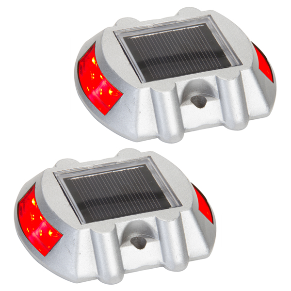 Solar Road Path Deck Dock Warning Lights with Red LEDs (2 Pack)