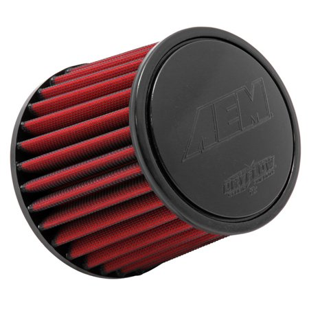- AEM 21-205DK Universal DryFlow Clamp-On Air Filter: Round Tapered; 4 in (102 mm) Flange ID; 5.25 in (133 mm) Height; 6 in (152 mm) Base; 5.125 in (130 mm) Top