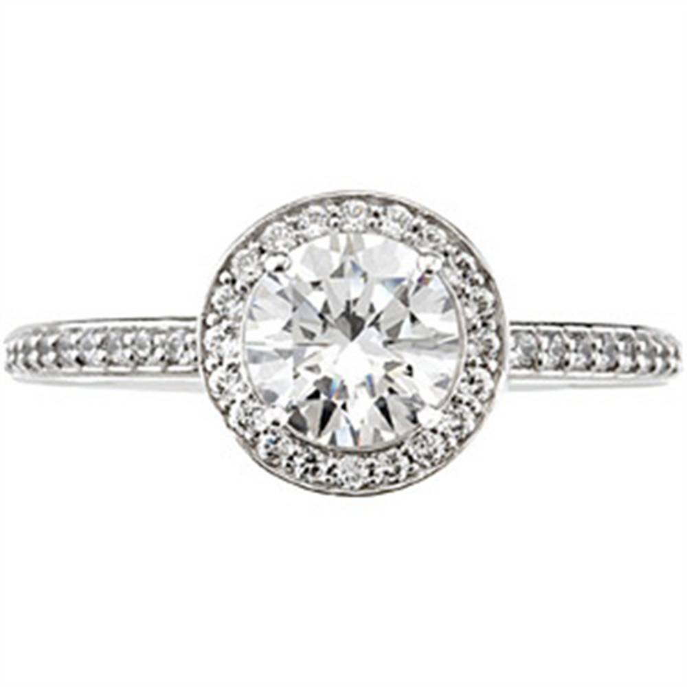 30bc3377356 1ct Pave Halo Diamond Engagement Ring 14K White Gold