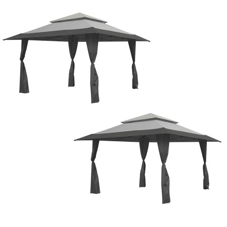 Z-Shade 13'x13' Instant Gazebo Canopy Tent Outdoor Patio Shelter, Gray (2 Pack) -  2 x ZS13GAZGRY