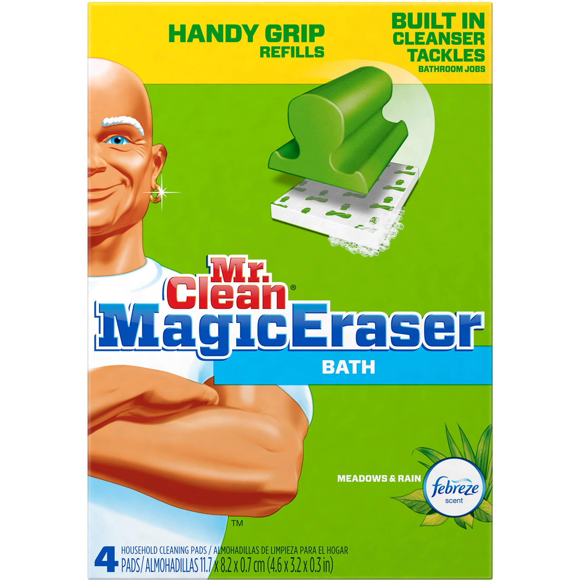 Good Mr. Clean Magic Eraser Bath Household Cleaning Pad Refills, 4 Ct