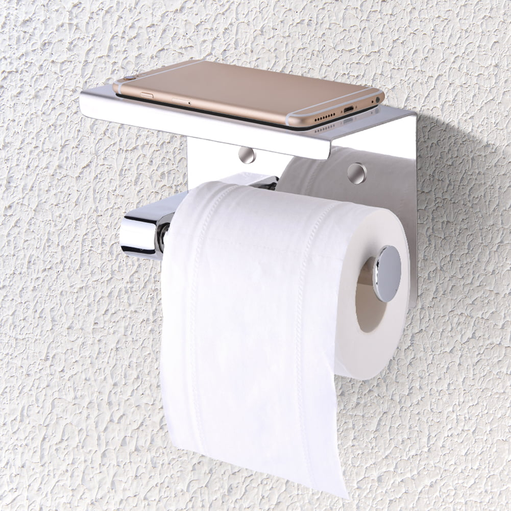 Wall Mounted Bathroom Toilet Paper Holder Rack Tissue Roll Stand Stainless Steel with Moblie Phone Holder Stand by