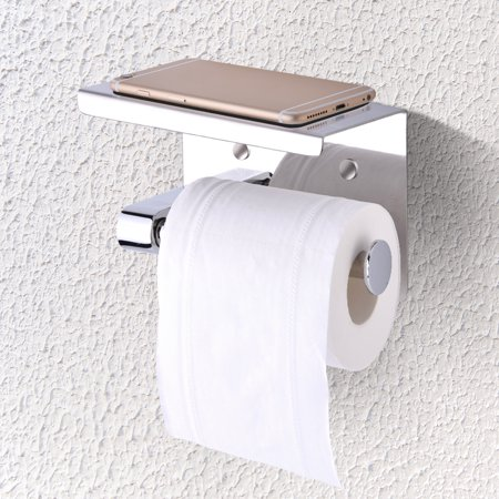 Wall Mounted Bathroom Toilet Paper Holder Rack Tissue Roll Stand Stainless Steel With Moblie Phone