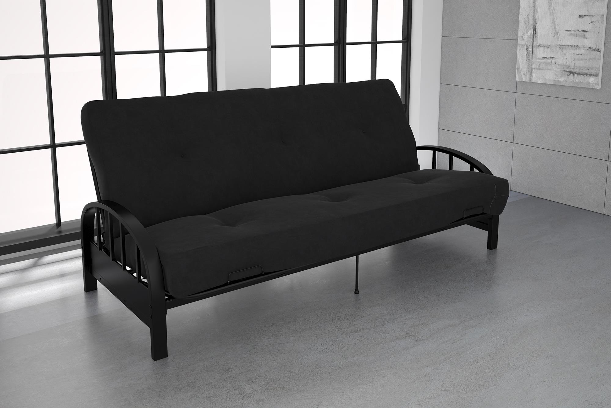 DHP Aiden Black Metal Futon Frame with Coil Full Futon Mattress, Multiple Colors and Sizes by Dorel Home Products