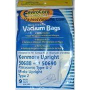 9 Kenmore Upright 50688 and 50690, Panasonic Type U-2 Vacuum Bags Microfiltration with Closure