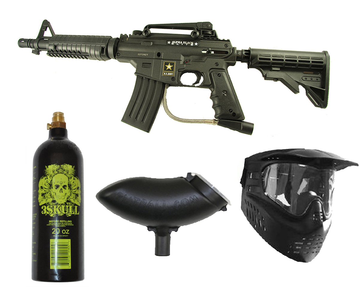 US Army Alpha Black Elite Paintball Marker Gun 3Skull Package Set by