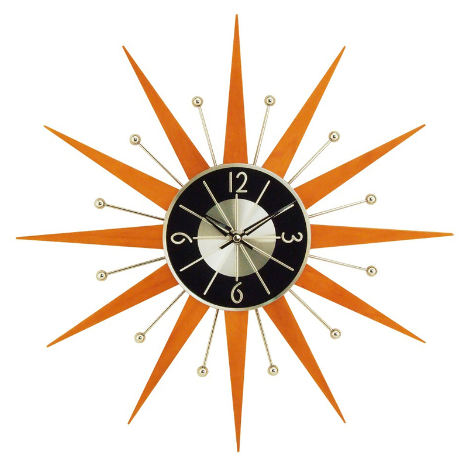 George Nelson Wooden 19.375 in. Starburst Wall Clock