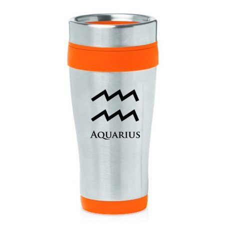 16Oz Insulated Stainless Steel Travel Mug Horoscope Zodiac Birth Sign Aquarius  Orange   Mip