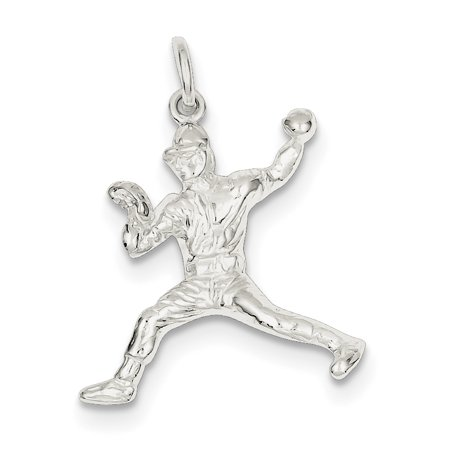 Roy Rose Jewelry Sterling Silver Baseball Pitcher Charm Pendant