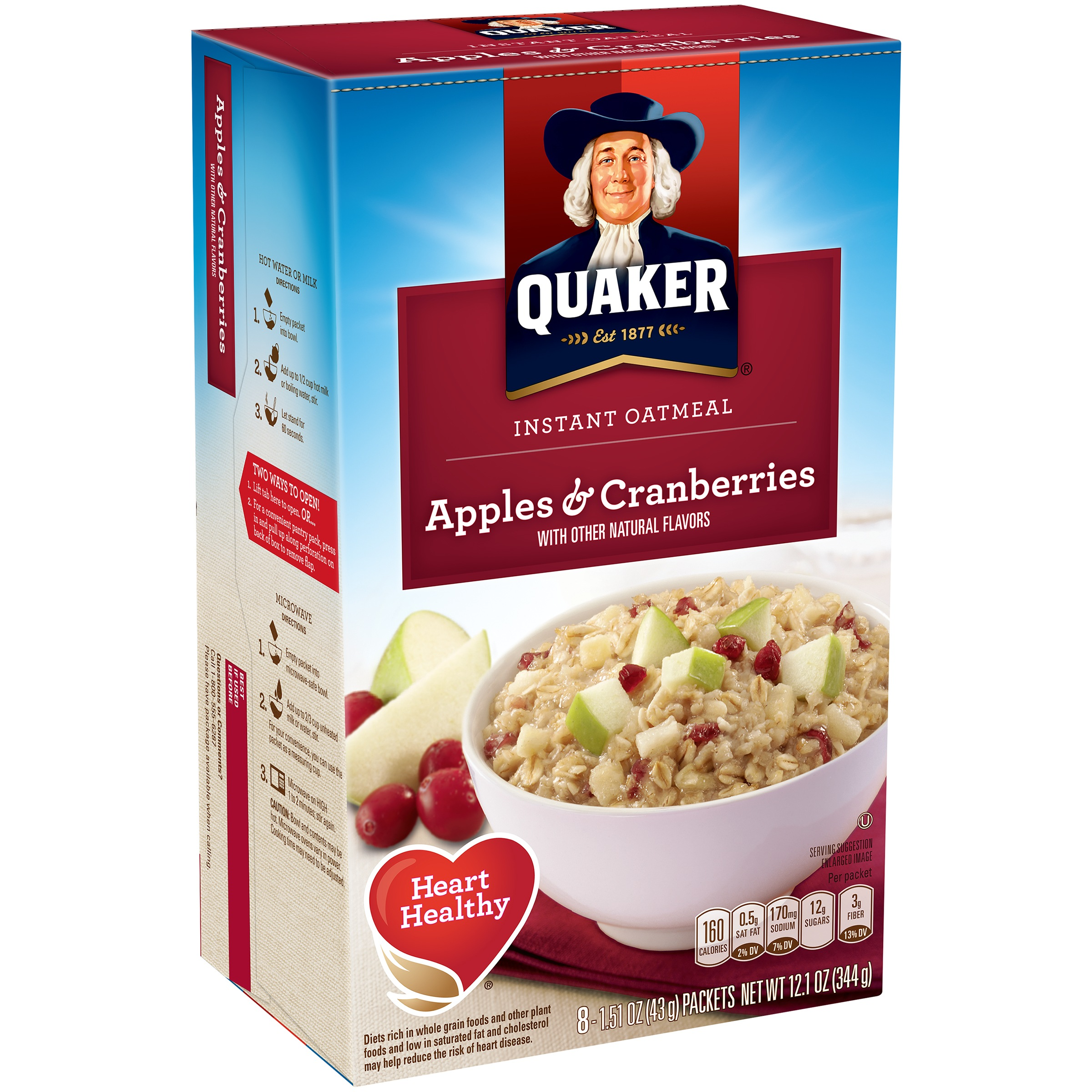 Quaker Instant Oatmeal Breakfast Cereal, Apples & Cranberries, 1.51 Oz, 8 Ct