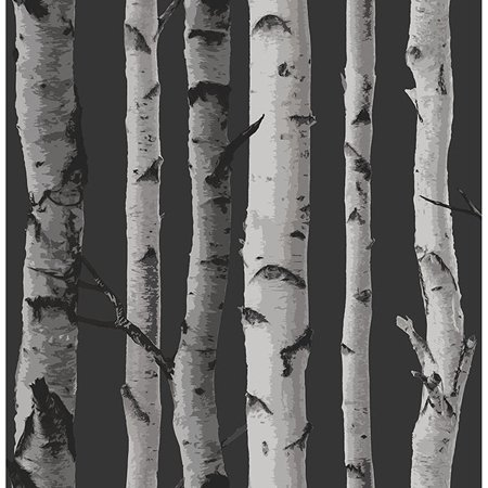 Fine Décor Distinctive Black Birch Tree Wallpaper (Black Cream Wallpaper)