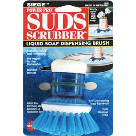 Siege, Power Pro Suds Scrubber, Liquid Soap Dispensing Brush, Blue,