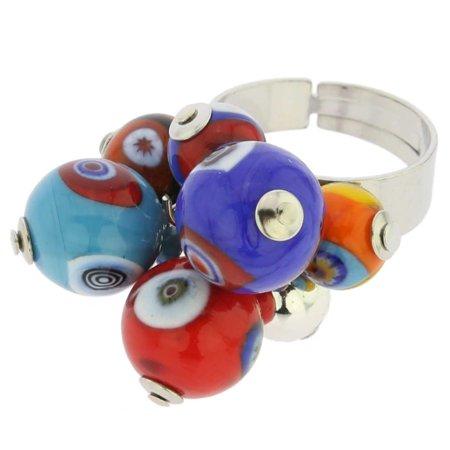Multi Color Murano Glass Ring - GlassOfVenice Murano Glass Millefiori Sorgente Ring - Multicolor