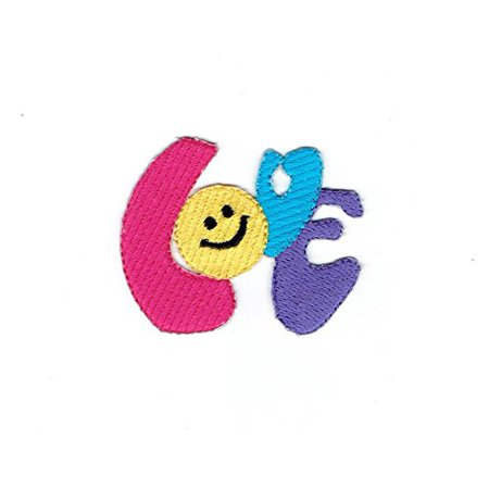 Smiley Face Emoji Colorful Love - Iron on Applique - Embroidered Patch