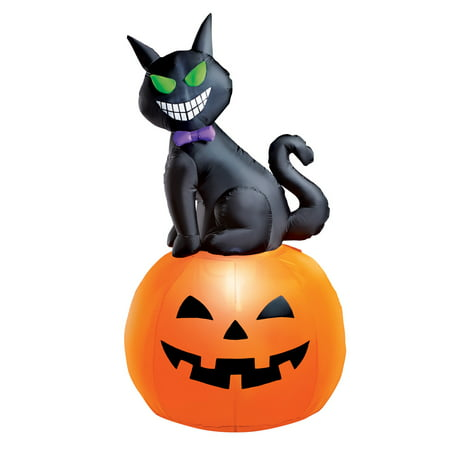 5 Foot Tall Cat Inflatable Halloween Decoration with Pumpkin, Lighted, Lawn Yard Garden Outdoor - Halloween Inflatables Cat