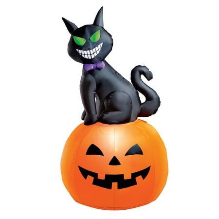 5 Foot Tall Cat Inflatable Halloween Decoration with Pumpkin, Lighted, Lawn Yard Garden Outdoor Décor