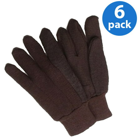 Safety Brown Jersey Gloves (CT7060-L-6PK, PVC Dotted Brown Jersey Glove, Poly/Cotton Blend, 6 Pair )