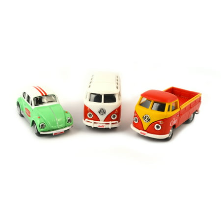Coca-Cola 1/72 Scale VW Diecast Cars 3 Pack: Samba Bus, Beetle, T1 Pickup (Collectible Toy Vehicle)