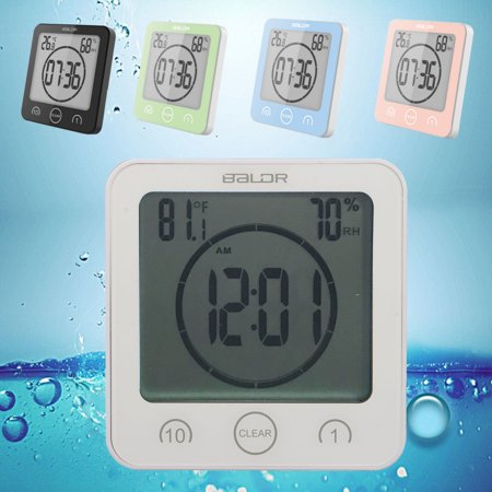 Waterproof Digital LCD Shower Clock Strong Bath Suction Wall Humidity Temperature Bathroom Countdown Alarm Timer (Halloween Countdown Clock Widget)