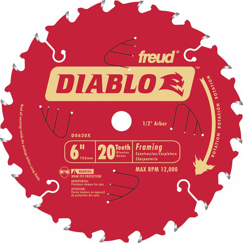 "Freud D0620X 6"" 20T Diablo Porter Cable Saw Boss Blade"