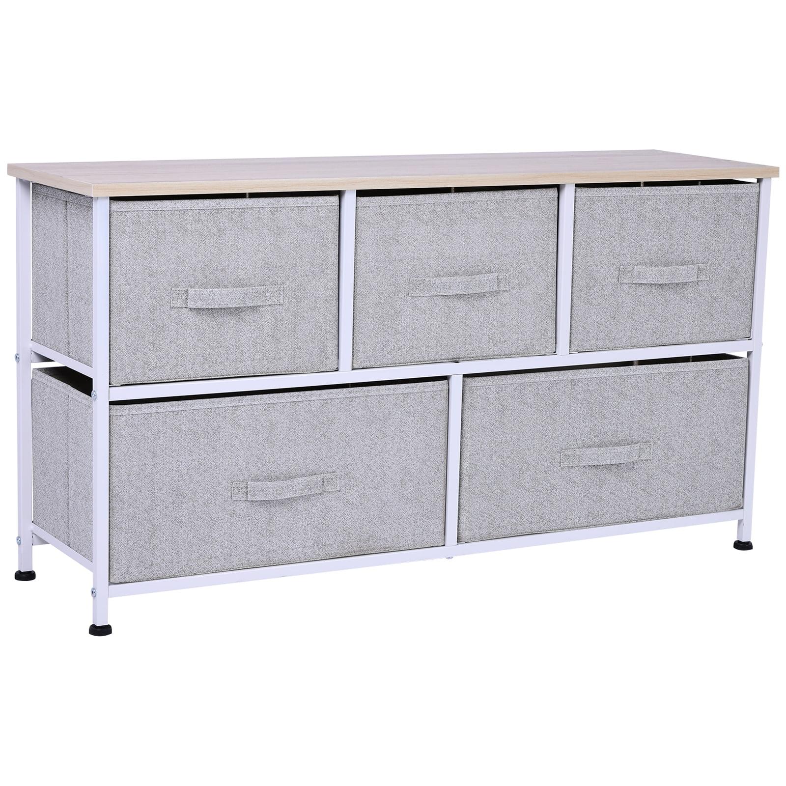 "HOMCOM 40"" L 5 Drawer Horizontal Storage Cube Dresser Unit Bedroom Organizer Livingroom Shelf Tower With Fabric Bins - Walmart.com - Walmart.com"
