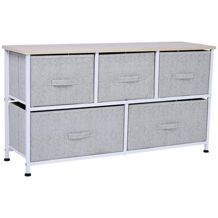 "HOMCOM 40"" L 5 Drawer Horizontal Storage Cube Dresser Unit Bedroom Organizer Livingroom Shelf Tower with Fabric Bins"