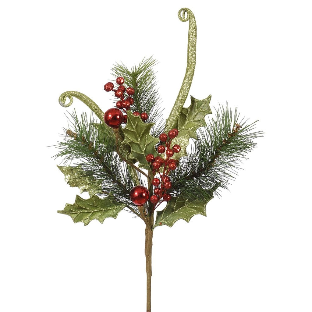 "Vickerman 36314 - 20"" Lime Red Glitter Holly Berry Vine (L140012)"