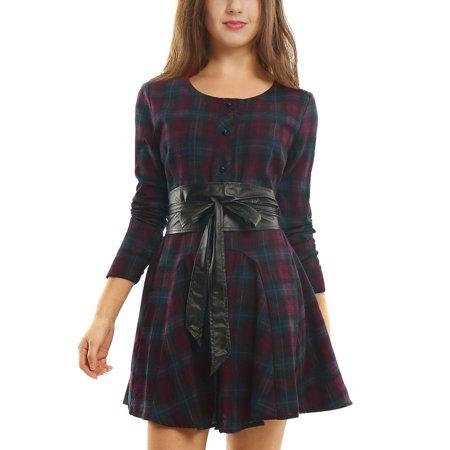 - Unique Bargains Women's Plaids Long Sleeves Belted A Line Shirt Dress