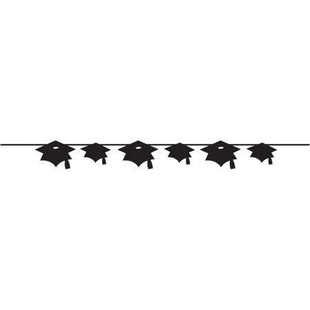 Club Pack of 12 Black Velvet Mortar Board Graduation Cap Party Banners 8'