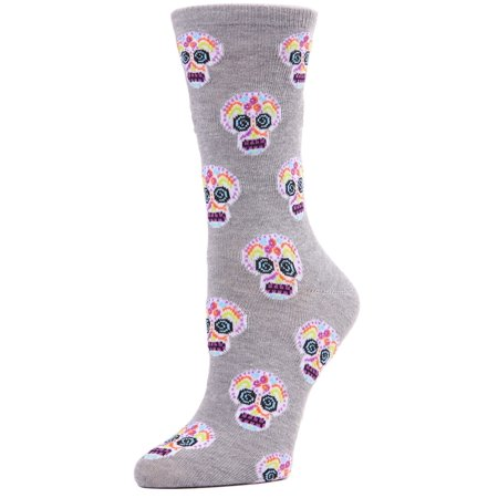 MeMoi Sugar Skull Crew Socks | Women's Halloween Novelty Socks One Size 9-11 / Med Gray Heather MF7 950