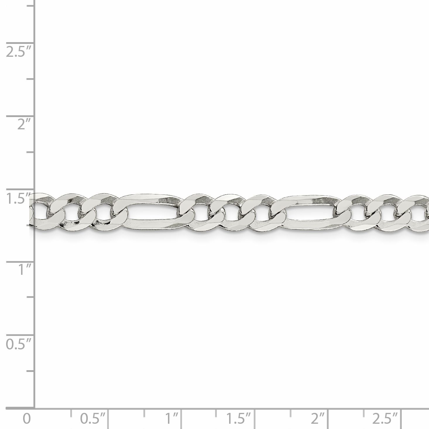 925 Sterling Silver 7.5mm Flat Link Figaro Chain Anklet Ankle Beach Bracelet 9 Inch : Fine Jewelry Gifts For Women For Her - image 1 of 4