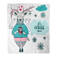 SIDONKU Throw Blanket 50x60 Inches Winter Cute Reindeer and Lettering It Coffee Time Christmas New Year Cartoon Warm Flannel Soft Blanket for Couch Sofa Bed
