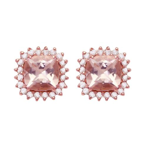 BHC 10k Rose Gold Morganite and 1/7ct TDW Halo Stud Earrings (H-I, I2-I3)