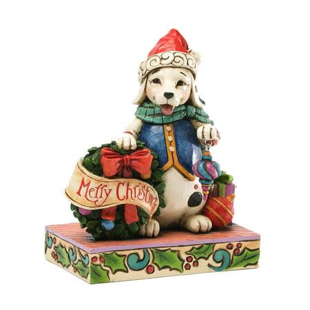 Jolly Old Santa - Heartwood Creek 4034391 Jolly Old Santa Paws Christmas Dog with Wreath