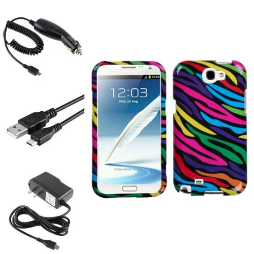 Insten Neon Zebra Hard Case+Car+Wall Charger+3X USB Cable For Samsung Galaxy Note 2 II