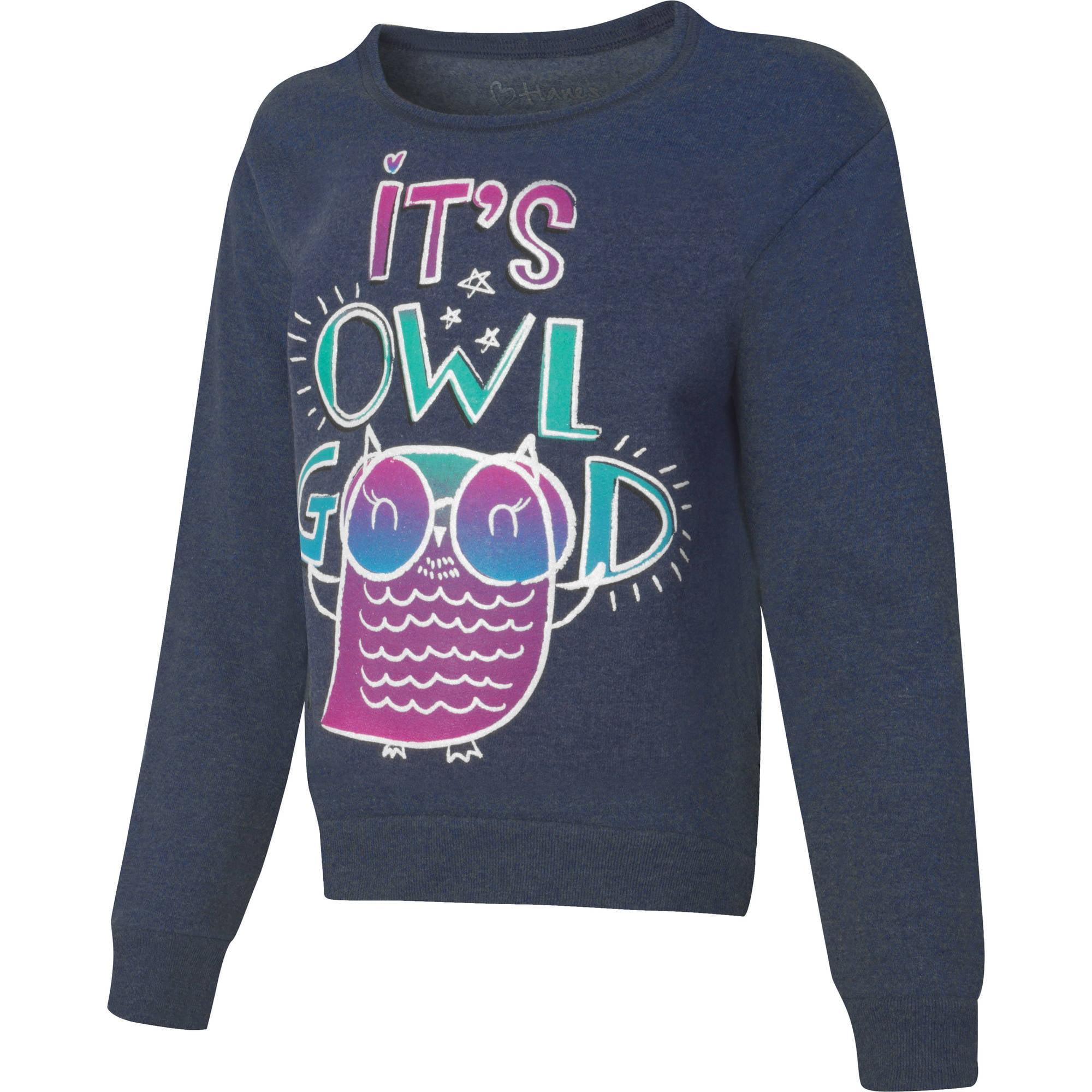Hanes Girls' Printed Fleece Sweatshirt